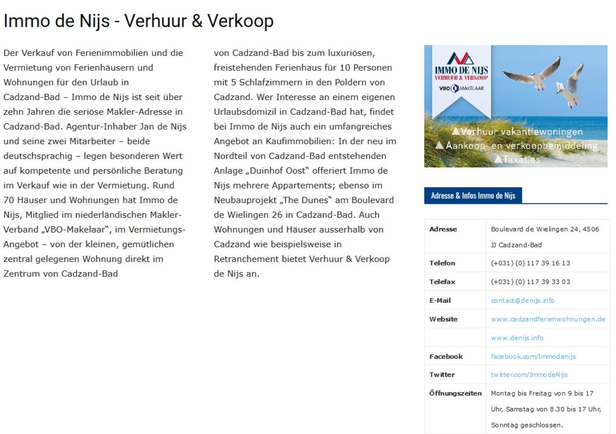 Advertorial-Muster: Beispiel für ein Advertorial auf Cadzand-Online.de